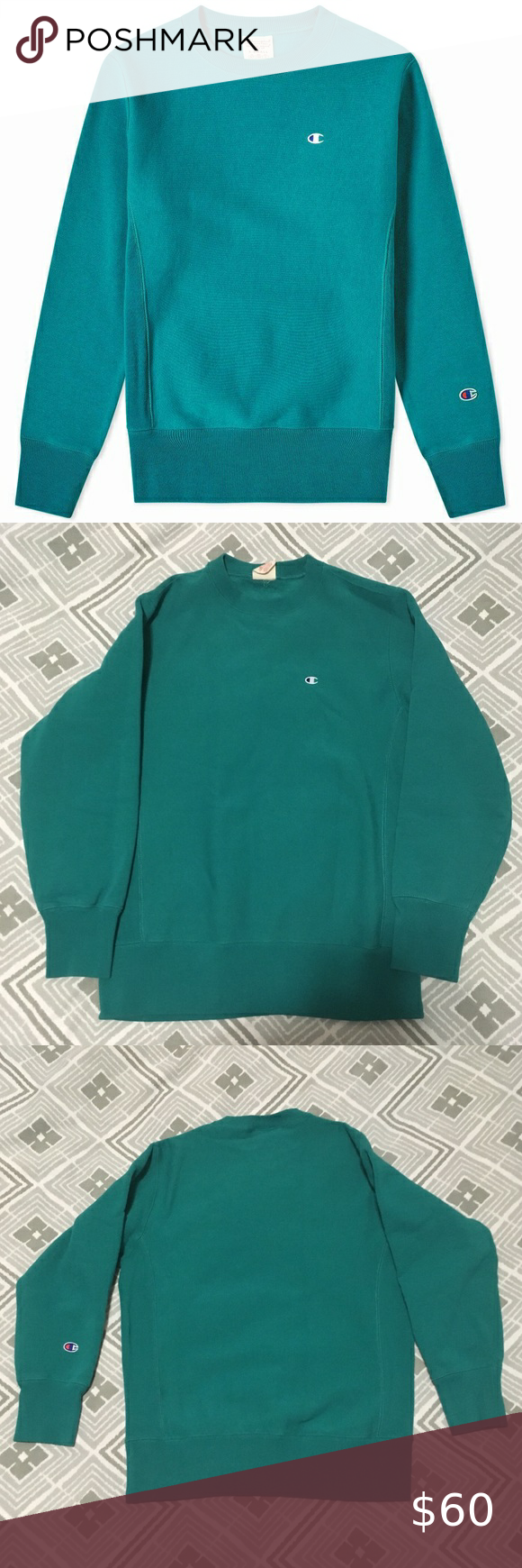 Teal Champion Reverse Weave Warm Up Sweatshirt Champion Reverse Weave Sweatshirts Long Sleeve Tshirt Men [ 1740 x 580 Pixel ]
