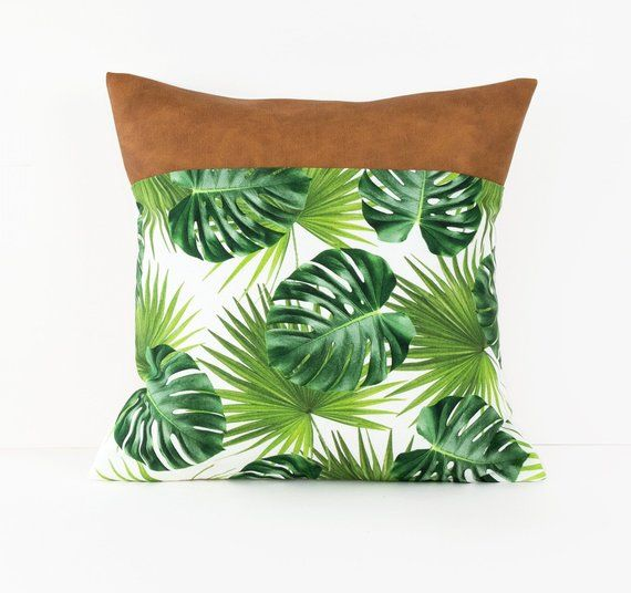 Tropical Cushion Cover Banana Leaf Pillow Cover Palm Tree