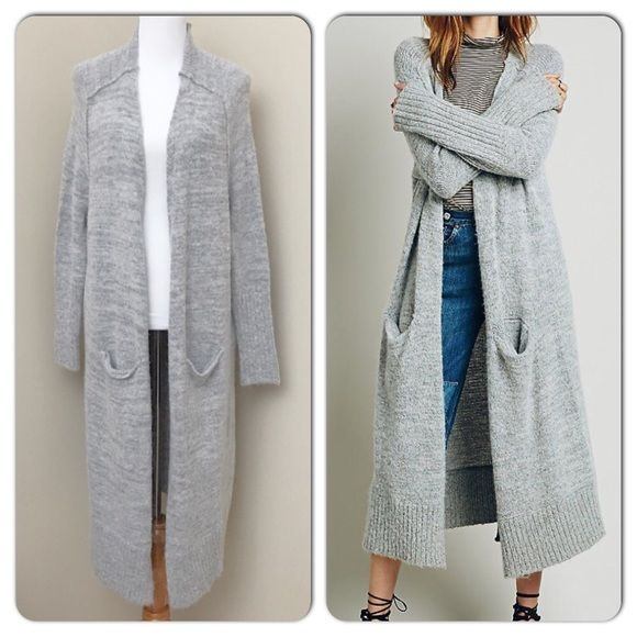 Free People Santa Cruz Soft Gray Long Cardigan Wrap yourself up in ...