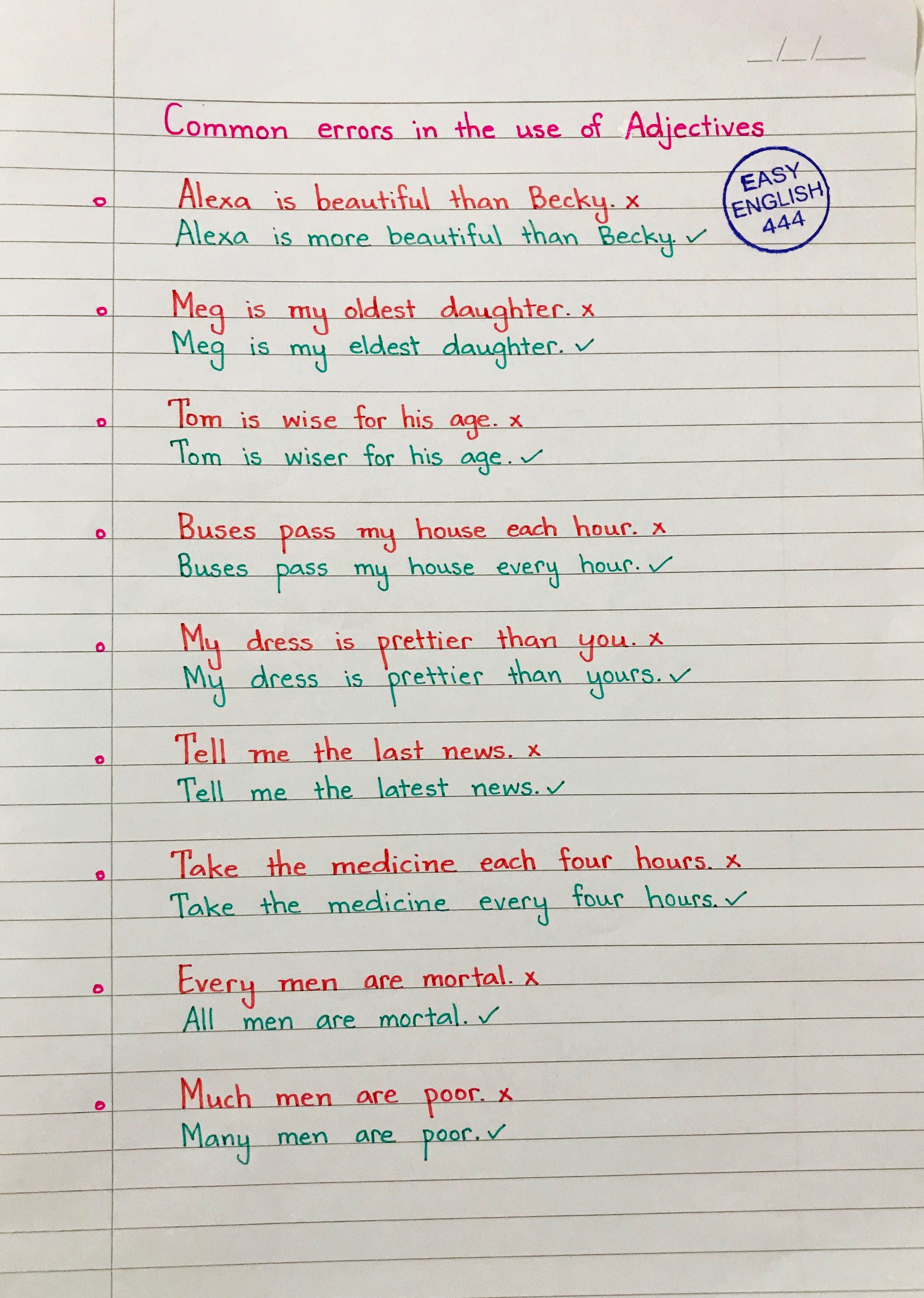 English Language Grammar Language English Handwritten