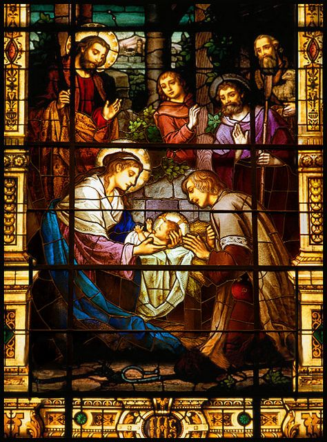 """""""The Nativity"""" 1890-1910 by Franz Mayer&Co. Munich Germany. Cathedral-Basilica of the Immaculate Conception, Mobile, AL 