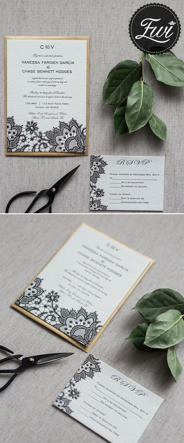 Vintage Black Lace Cotton Paper Letterpress Invitations Ewlp006