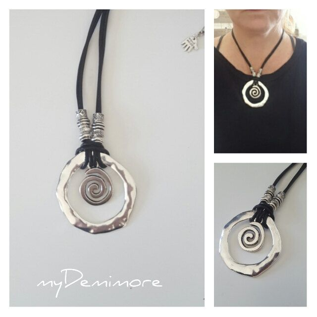 endless Ring, Spiral, leather necklace by myDemimore on Etsy