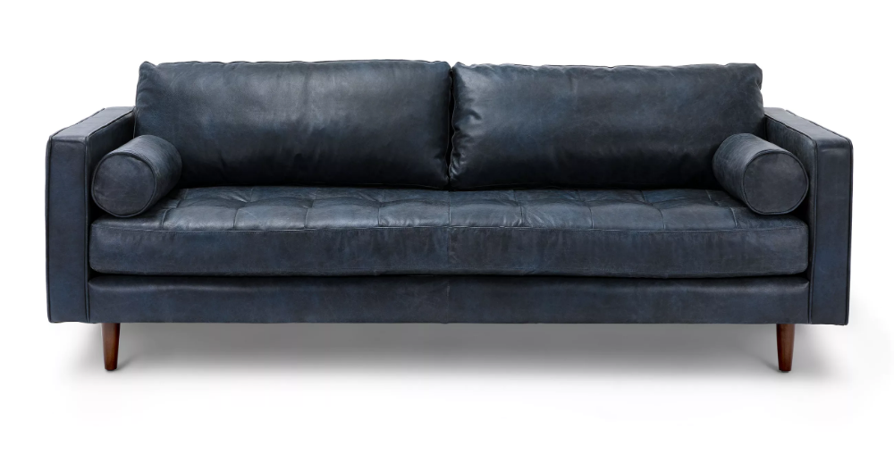 Best Sven Oxford Gray 72 Sofa Blue Leather Sofa Best 400 x 300