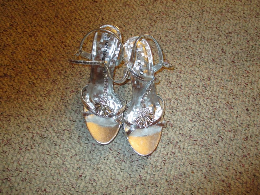 Women's Silver Hot Tomato high heels size 9 1/2 wide #HotTomato #Heels