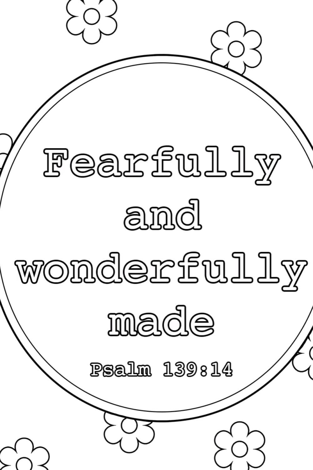 30+ I am fearfully and wonderfully made coloring page free download