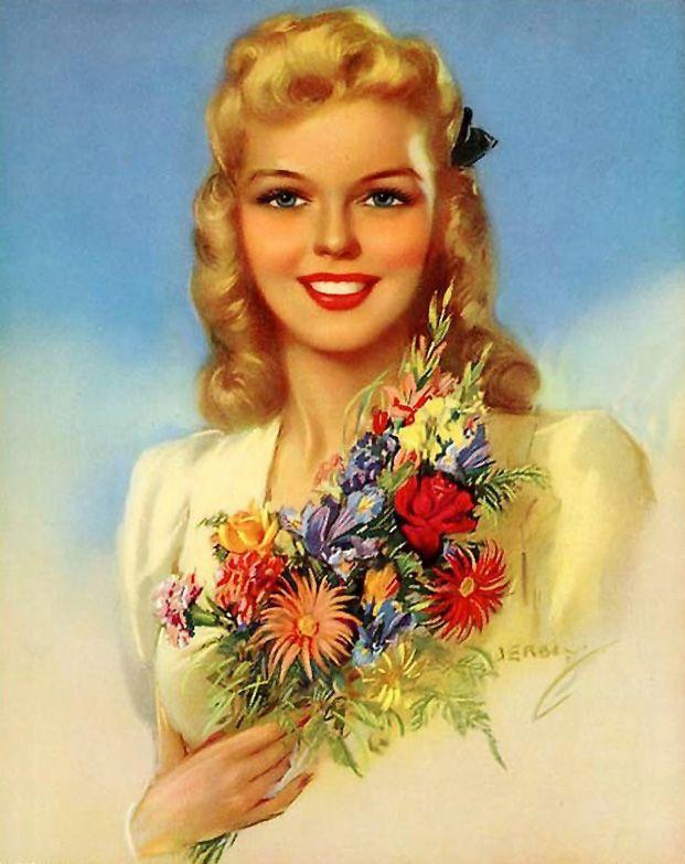 Женщина картинка открытка, надписью