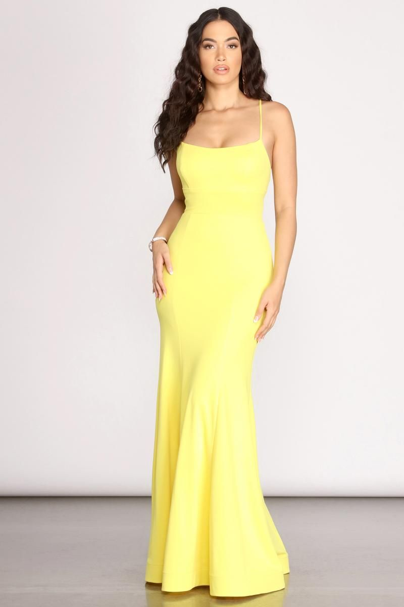 Iva Crepe Lace Up Back Mermaid Dress In 2021 Bright Prom Dress Neon Prom Dresses Yellow Prom Dress Long [ 1200 x 800 Pixel ]