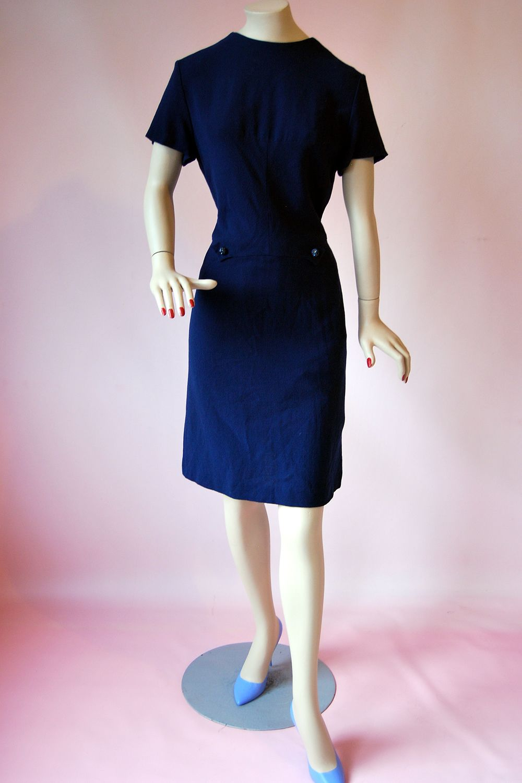 Vintage 1960s Royal Blue Crepe Wool Shift Twiggy MOD