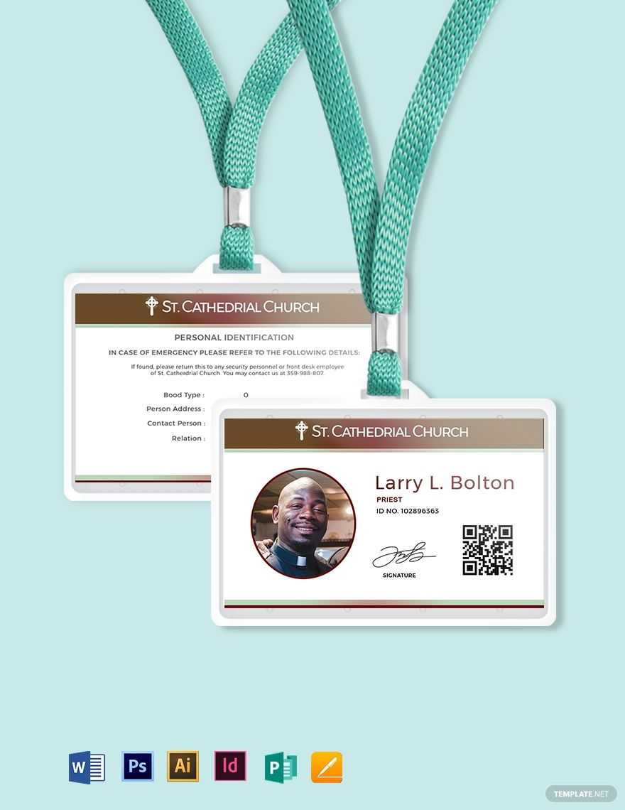 Clergy Church Id Card Template Word Doc Psd Apple Mac Pages Illustrator Publisher Id Card Template Card Template Business Person