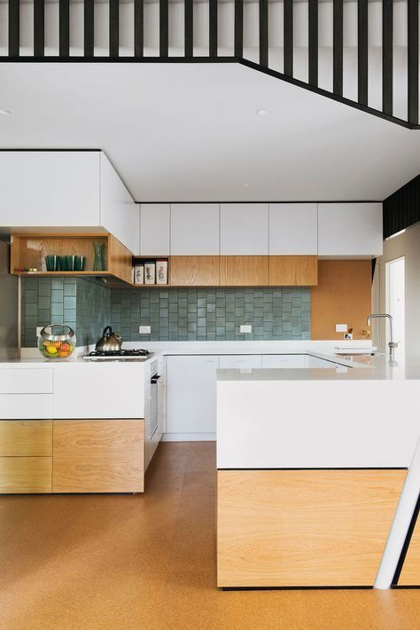 Nest Architects. Rosanna, Melbourne mid-century modern renovation. Tiled splash back. Cork flooring.