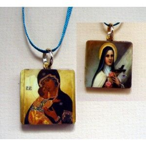 Hand made, wearable art, picture charm pendant. on ribbon. Jesus, holy, religious. £5