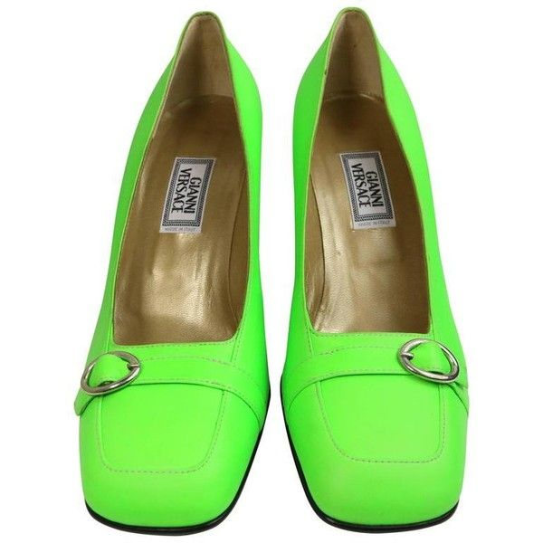 Preowned Gianni Versace Neon Green Leather Square Toe Heels 15 690 Uah Liked On Polyvore Featuring Shoes Pumps Green Heels Genuine Leather Shoes Square