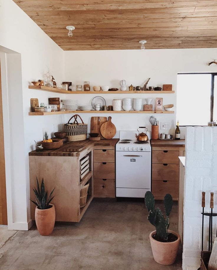 White and wood - bohemian kitchen #wohnungküche