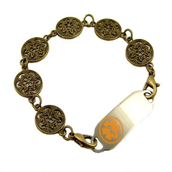 Bronze Filigree Medical Id Bracelet Free Engraved Tag