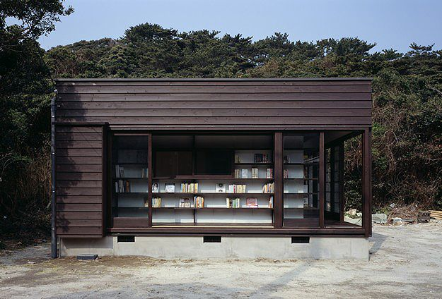House made out of bookshelves