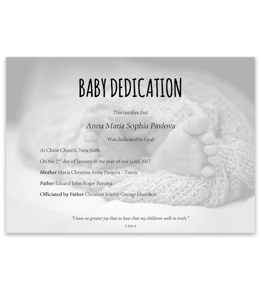 Baby Dedication Certificate Template For Word [Free
