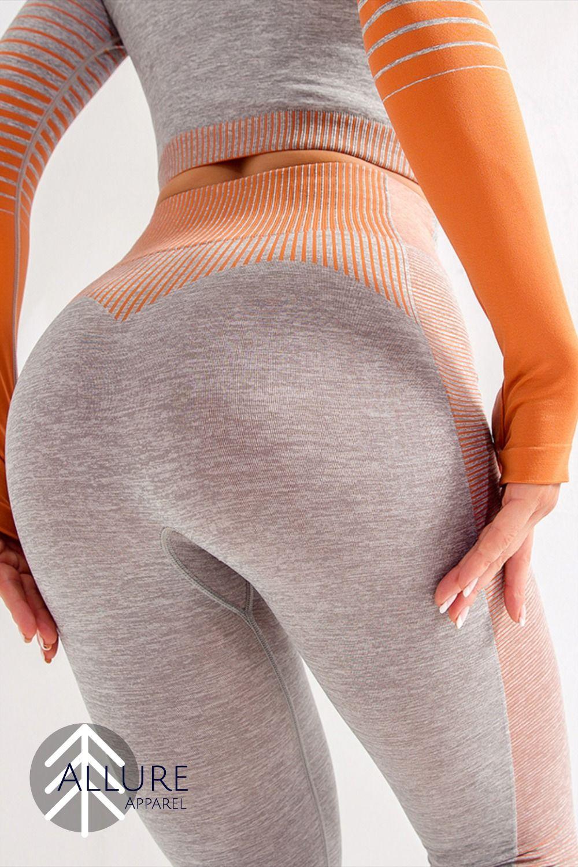 High Waisted Seamless Stretch Bold Stripe Leggings #stripedleggings