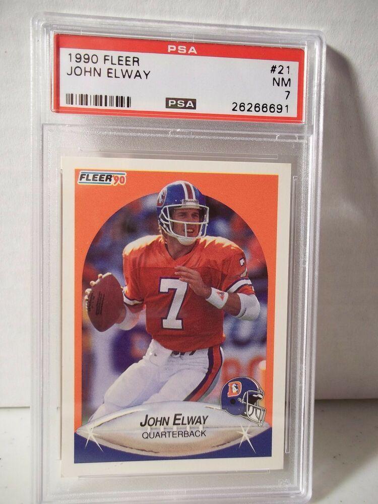 1990 fleer john elway psa nm 7 football card 21 nfl