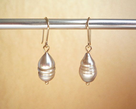 Unusual Freshwater Pearl Earrings Solid 14k Gold Wires Irregular Grey Dangles Imperfect Gre
