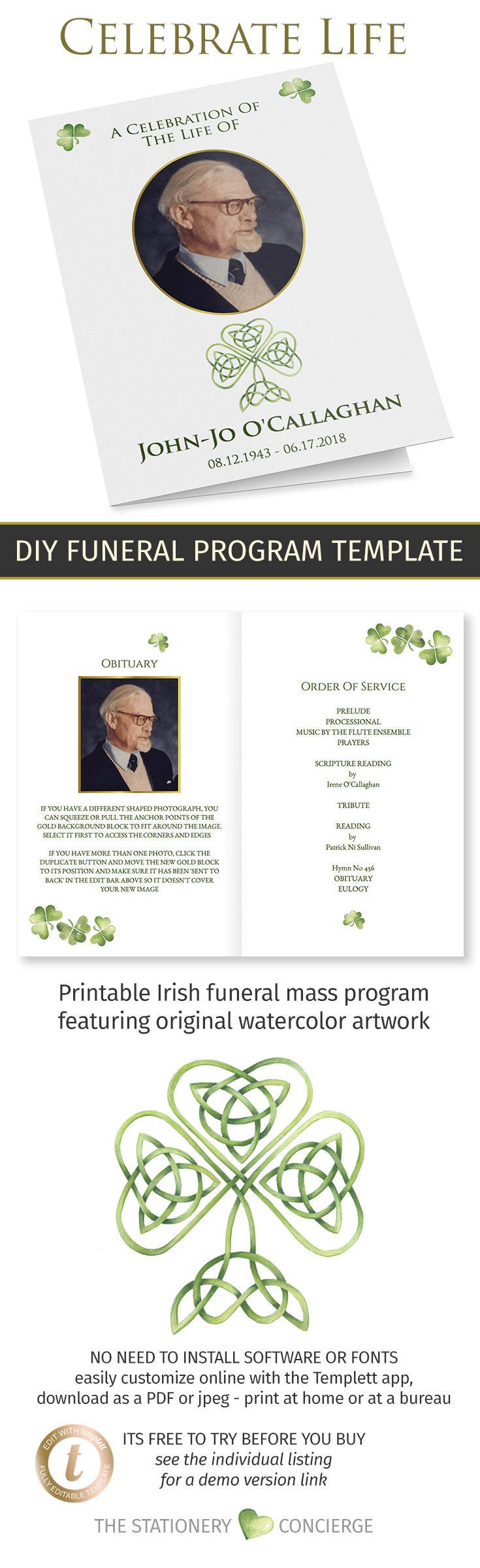 Irish Catholic Funeral Mass Program Template With Shamrocks And Gold