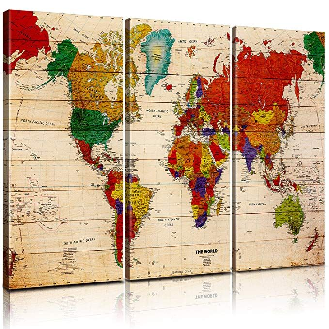 Pixel power color world map artwork canvas wall art xlarge 3 panel
