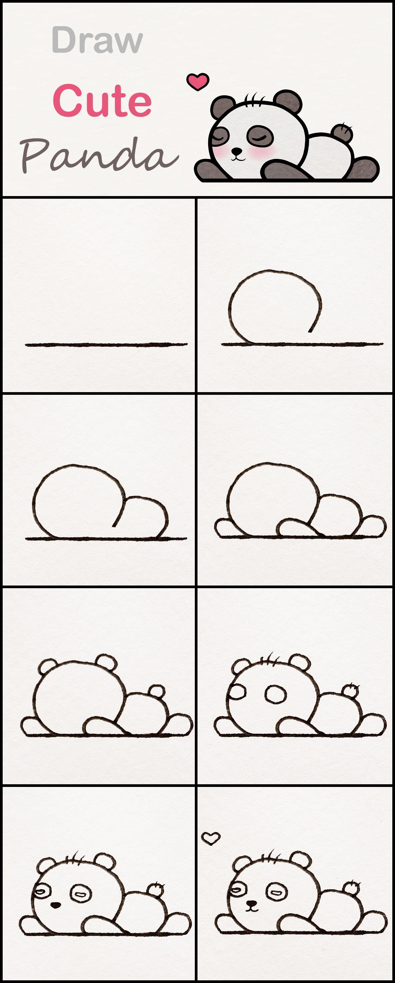 Learn How To Draw A Cute Baby Panda Step By Step Very Simple Tutorial Panda Drawings Kawaii Tutorial Cute Easy Drawings Easy Drawings Panda Drawing