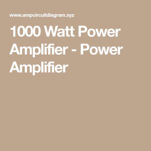 1000 Watt Power Amplifier Power Amplifier Jesse Electrical
