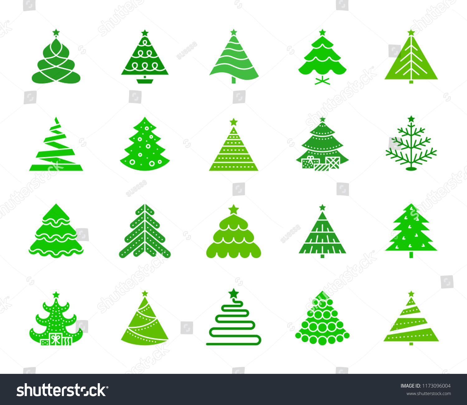 Christmas Tree Silhouette Icons Set Isolated Web Sign Kit Of Stylized Spruce Fir Farm Pictogr In 2020 Christmas Tree Silhouette Tree Silhouette Simple Christmas Tree