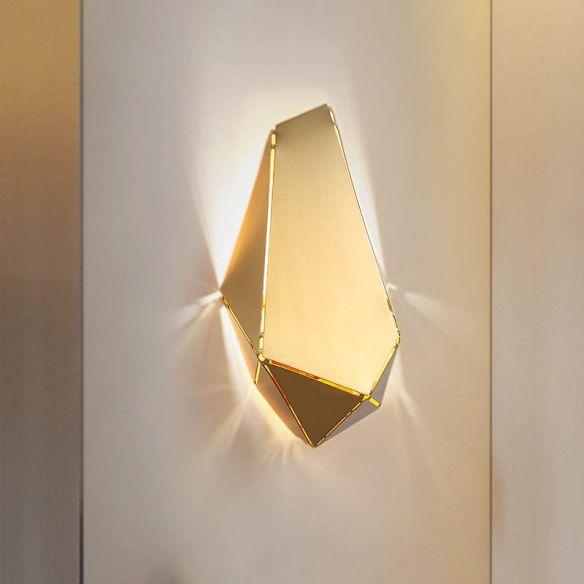 Metal Geometric Wall Mount Lighting Minimalism 1 Head Led Gold Wall Light Sconce For Restaurant Wall L In 2020 Wall Mounted Light Gold Wall Lights Wall Sconce Lighting