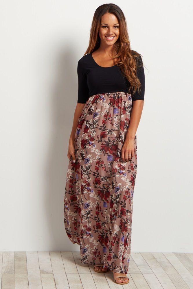 Mauve-Colorblock-Floral-Bottom-3/4-Sleeve-Maxi-Dress