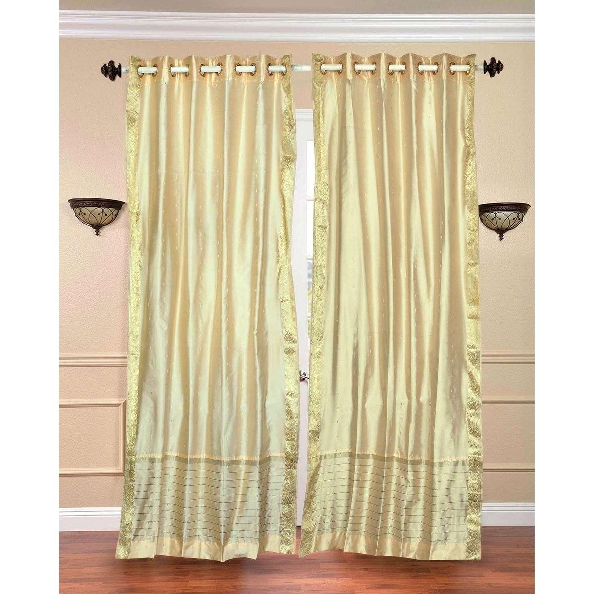 No curtain window ideas  indian selections cream ivory ring top sheer sari curtain  drape
