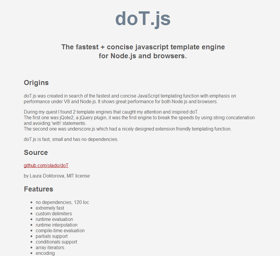 Dotjs The Fastest Concise Javascript Template Engine For Node