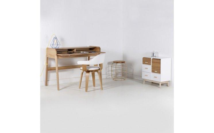 Bureau console design en bois naturel leo bureau en bois