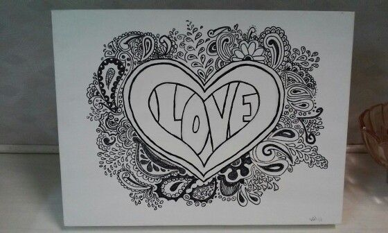 Love. Acrylic and pen on canvas. $15