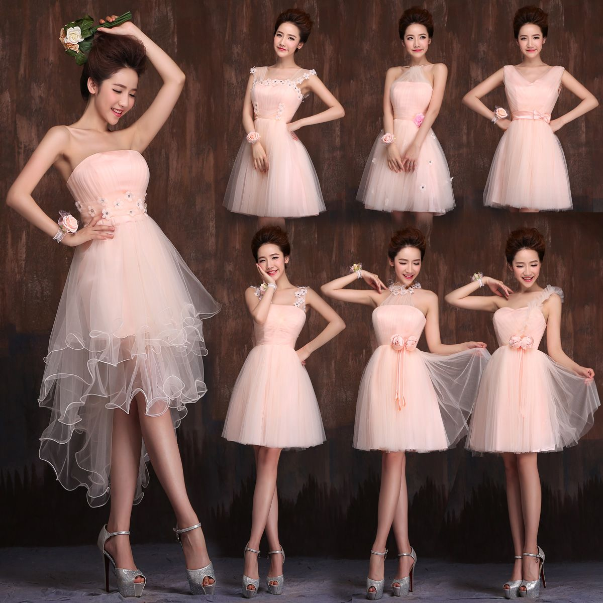 Find More Information About High Low Bridesmaid Dress Short Front Long Back Puffy Tulle Sweet Light Pink Plus Size Dresses Under 50 Party