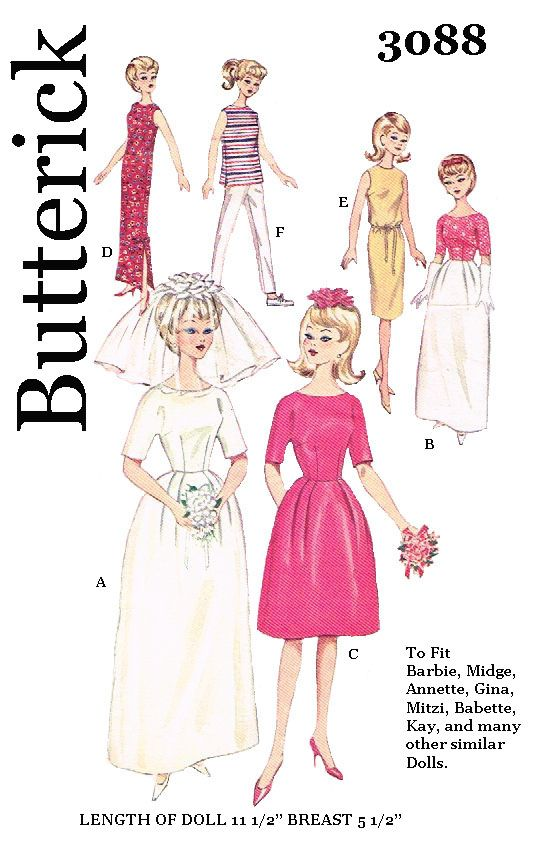Butterick 3088 - for 11 1/2 inch dolls with 5 1/2 inch chest, such ...