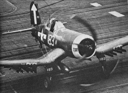 Navy F4U Cosair on Carrier Deck BFD