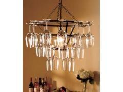 Vintage Wine Glass Chandelier Holder Rack Hanging Kitchen Bar Dining Light Bulb ,Bennettsville, South Carolina, United States ,QMstore.com