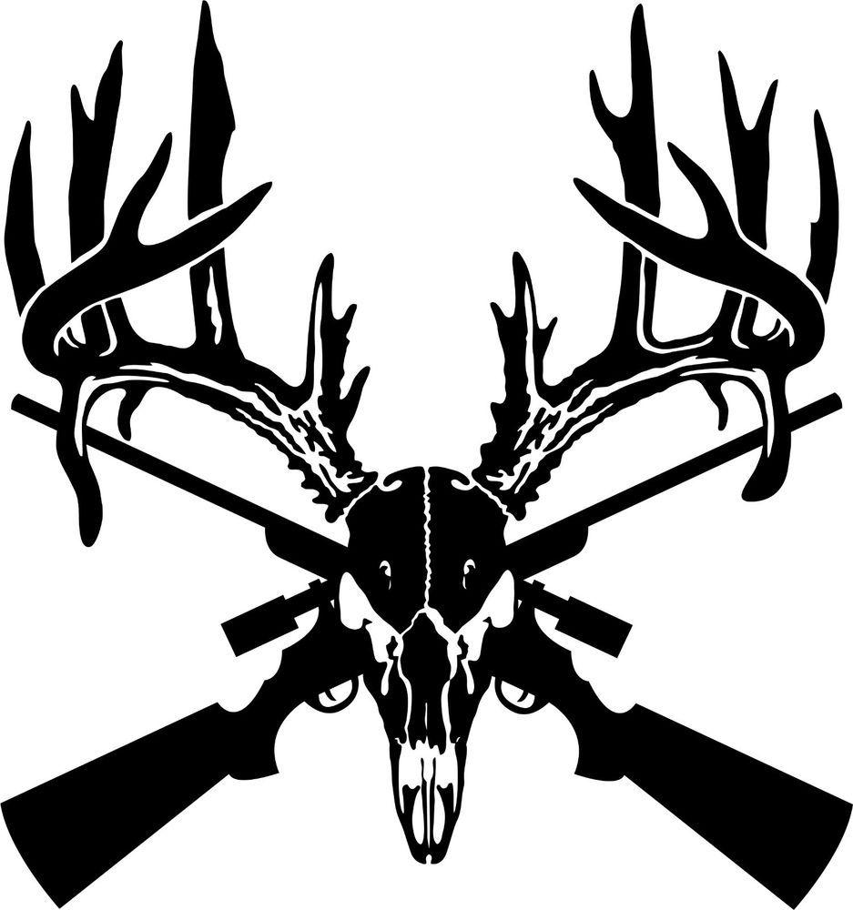 Deer Skull Gun Rifle Hunting Car Truck Window Wall Laptop Vinyl - Custom vinyl decals for trucks
