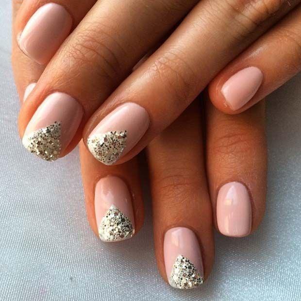 Pretty Glitter Design for Elegant Nail Designs for Short Nails ...