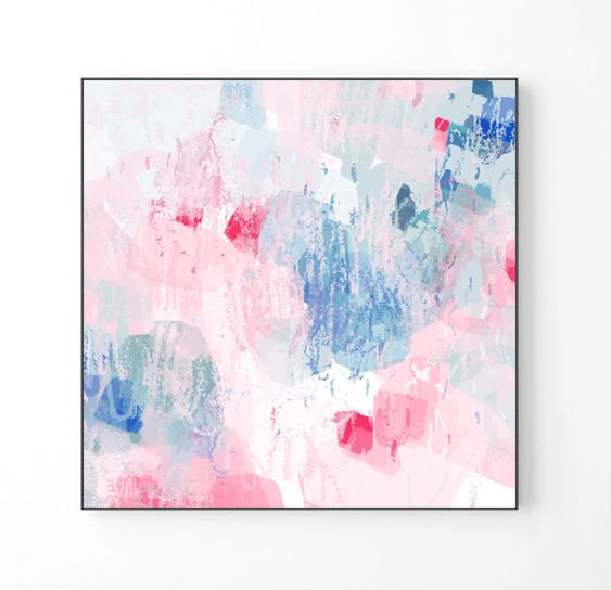 Large Abstract Painting Large Wall Art Pink Abstract Art Print