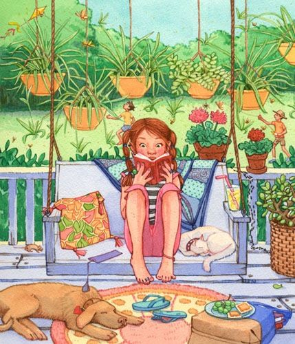 Girl on the porch reading by Jennifer Emery