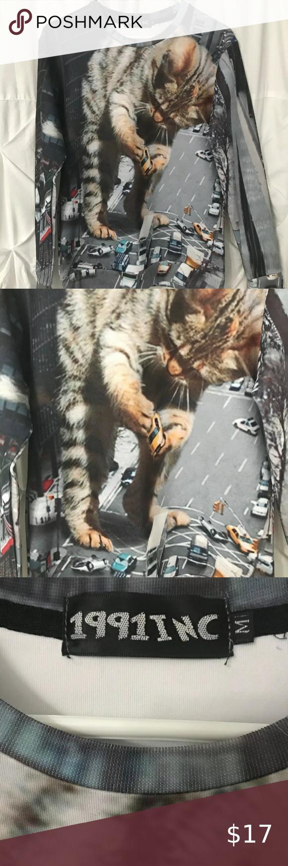 Weird Giant Cat Sweatshirt 1991 Inc Euc Mens Cat Shirt 1991 Inc Giant Cat Takes Over City Sweatshirt Size M Rare Cat Sweatshirt Nfl Outfits Tech Fleece Hoodie [ 1740 x 580 Pixel ]