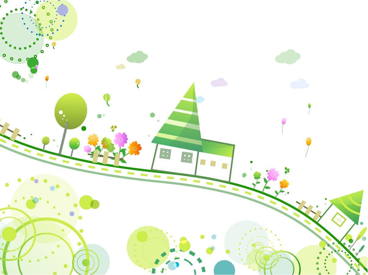 アニメ風の可愛い街並みの背景 cute style house background イラスト