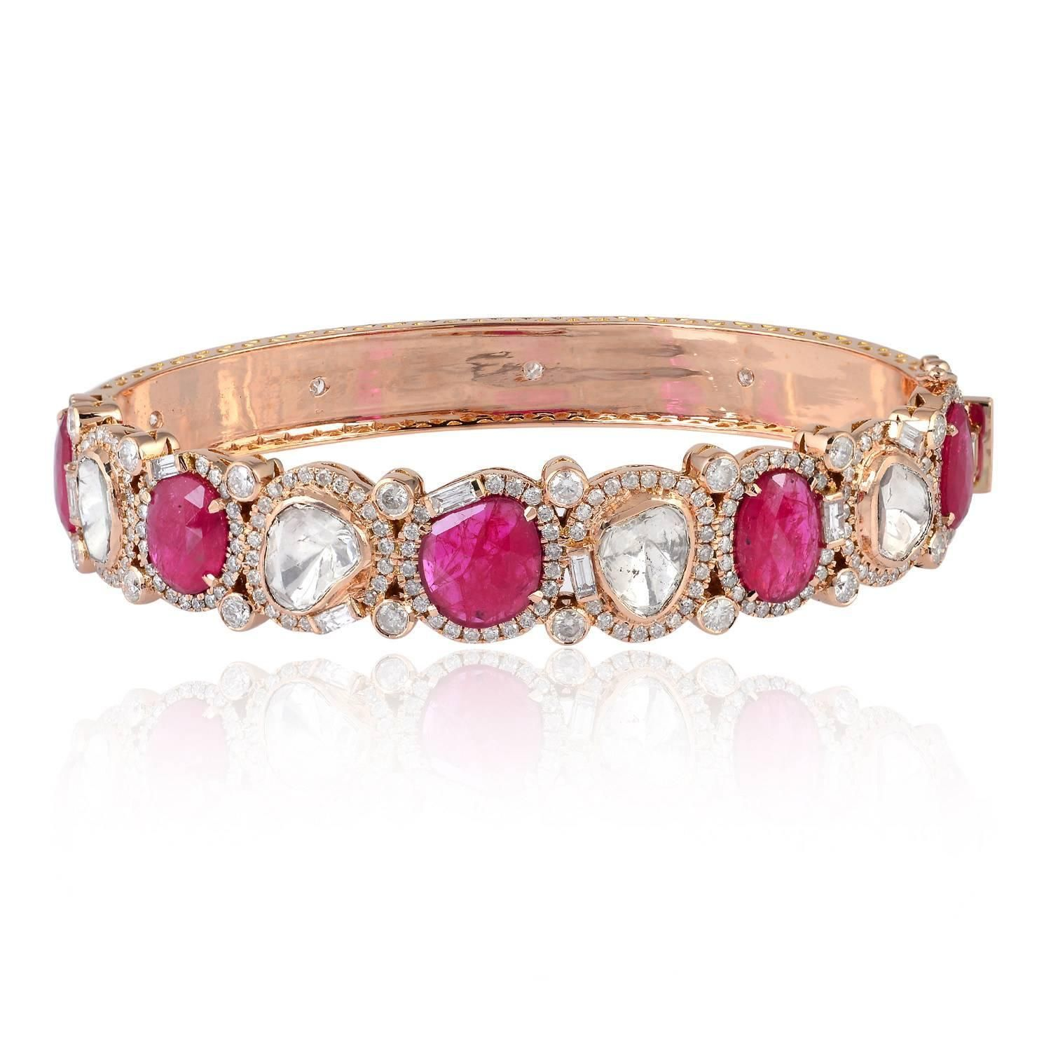 oval diamond org gold id m bracelet cabochon hinged ruby real j bracelets for retro sale at jewelry