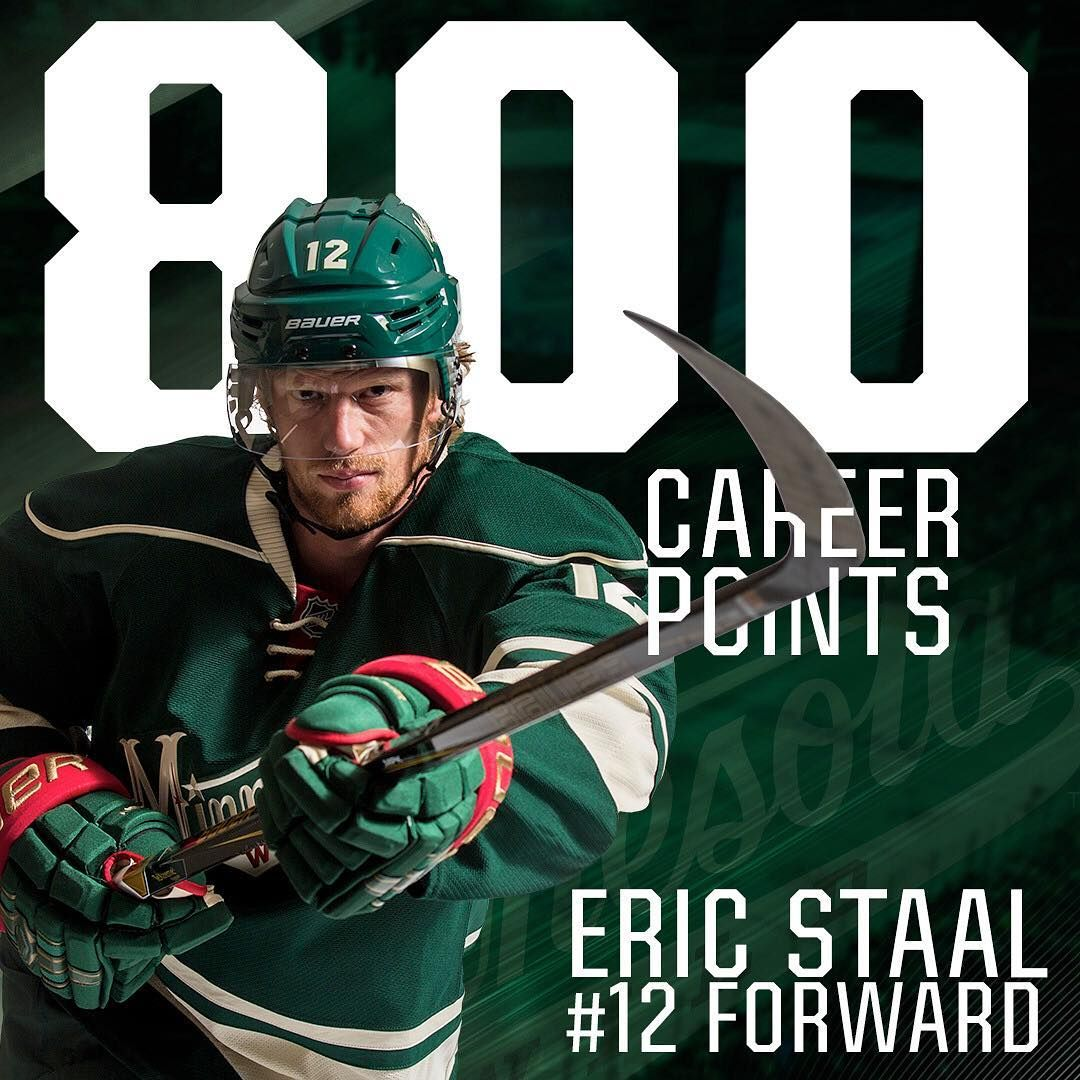 Double Tap To Congratulate Eric Staal On His 800th Nhl Point Wild Hockey Minnesota Wild Hockey Minnesota Wild