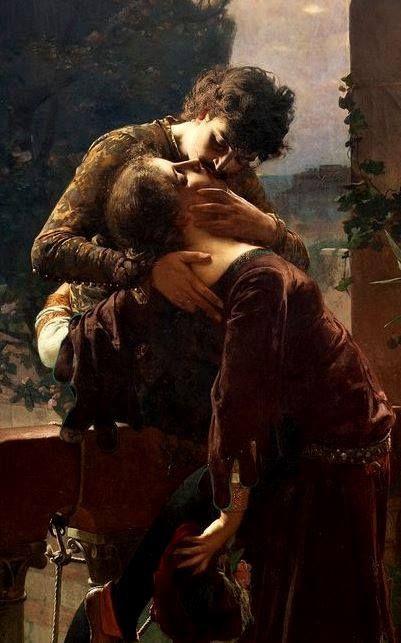 "Julius Kronberg (Swedish, 1850-1921), ""Romeo and Juliet on the balcony"" (detail)"