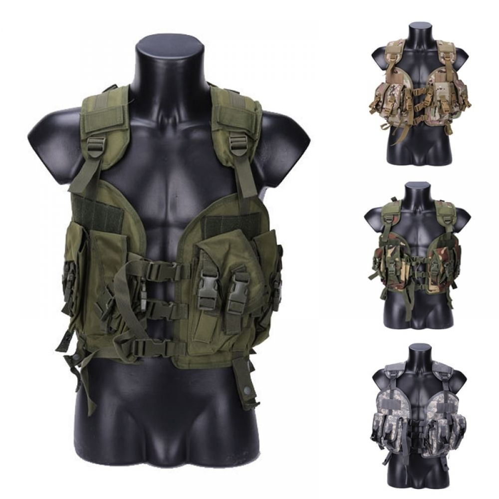 NcStar CTV2916B Tactical MOLLE Cross Draw Vest w //Pistol Holster /& Patch Black