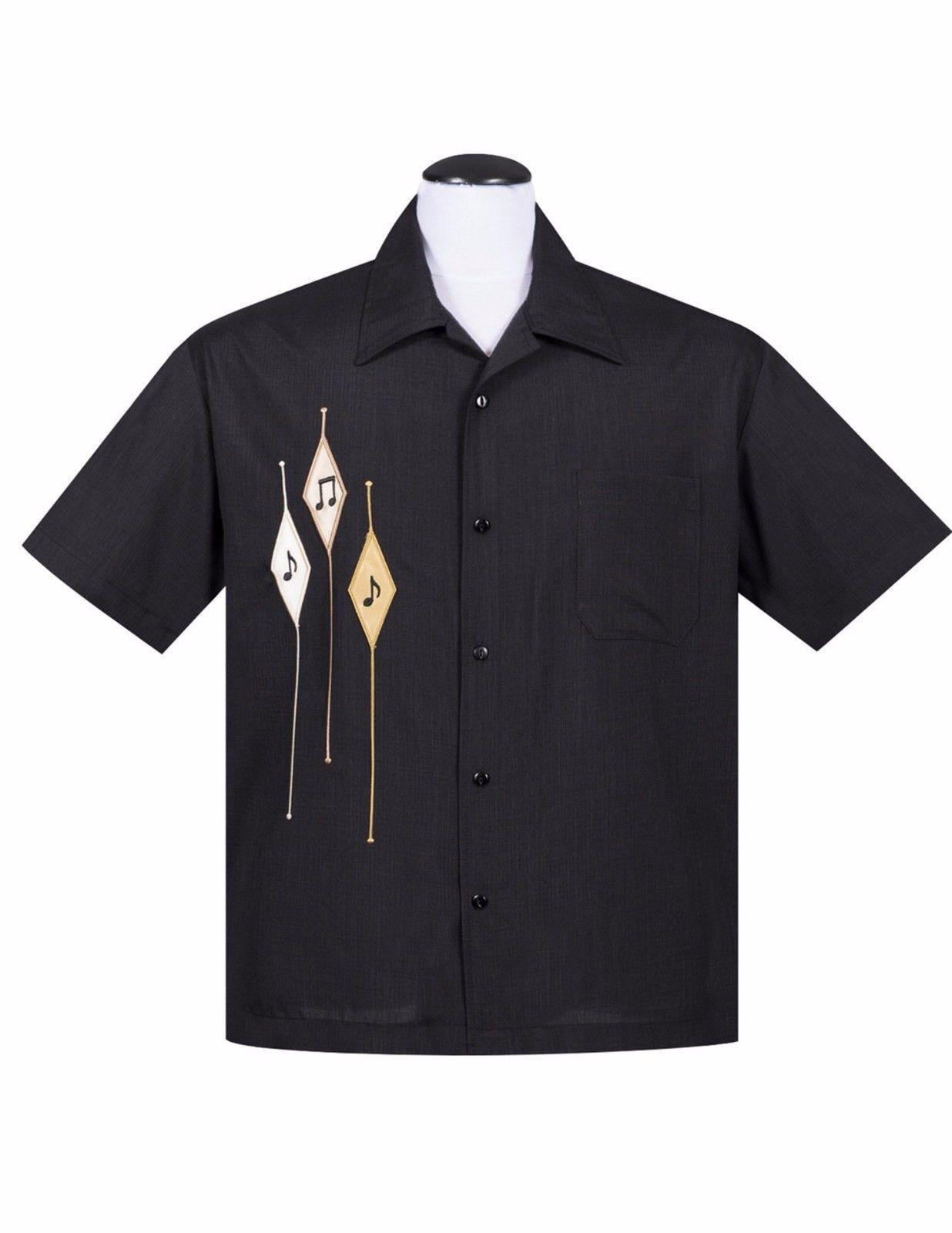 ea0bd686bab Steady Clothing Diamond Music Note Black Men s Bowling Shirt Rockabilly  Retro